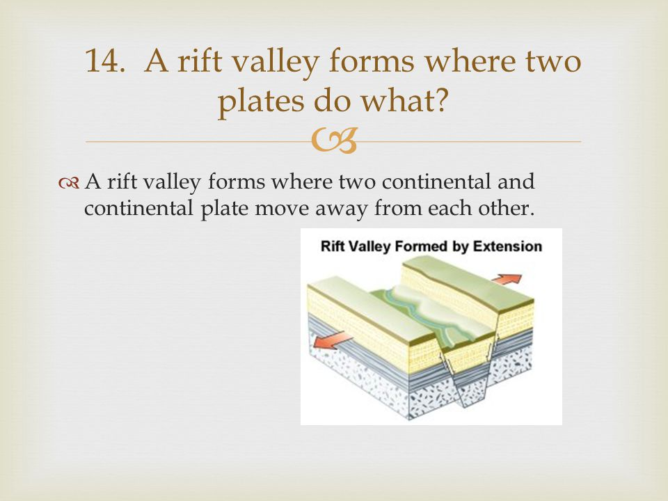   A rift valley forms where two continental and continental plate move away from each other. 14. A rift valley forms where two plates do what?