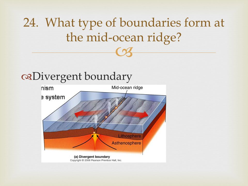   Divergent boundary 24. What type of boundaries form at the mid-ocean ridge?