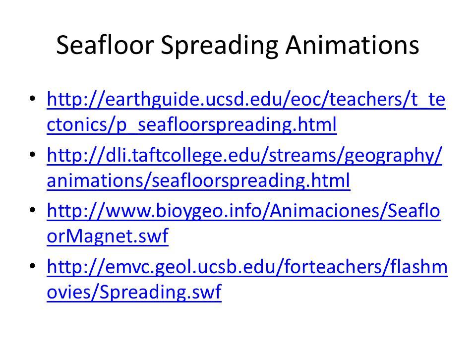 Seafloor Spreading Animations http://earthguide.ucsd.edu/eoc/teachers/t_te ctonics/p_seafloorspreading.html http://earthguide.ucsd.edu/eoc/teachers/t_