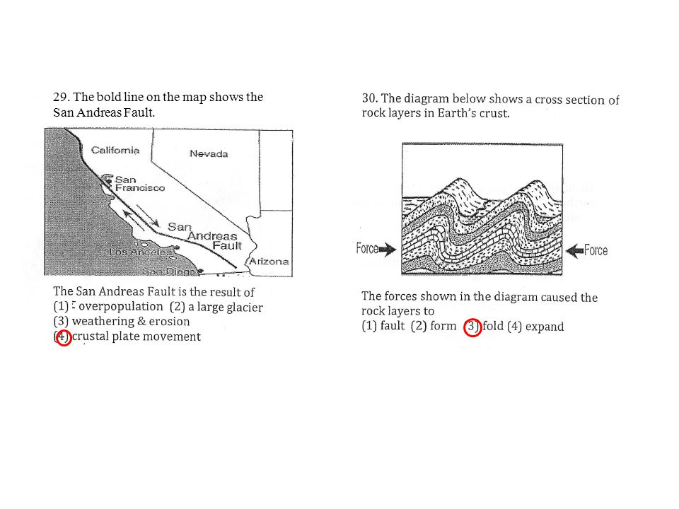 29. The bold line on the map shows the San Andreas Fault.