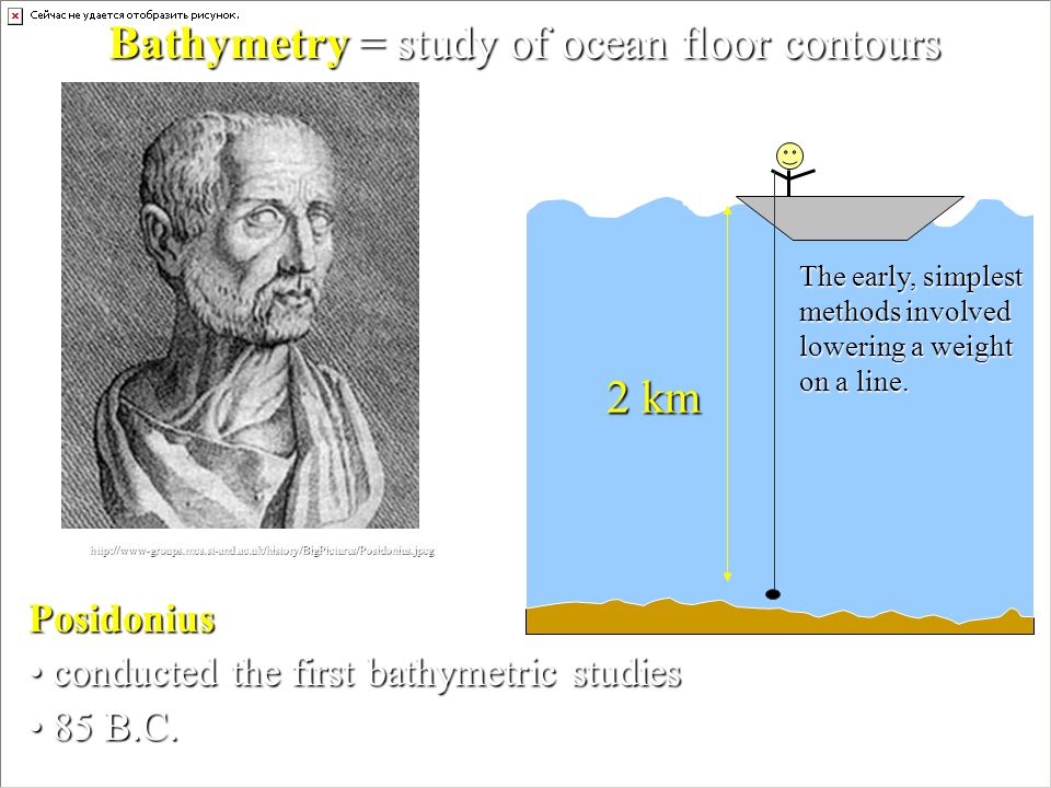 Posidonius conducted the first bathymetric studies conducted the first bathymetric studies 85 B.C. 85 B.C. http://www-groups.mcs.st-and.ac.uk/history/