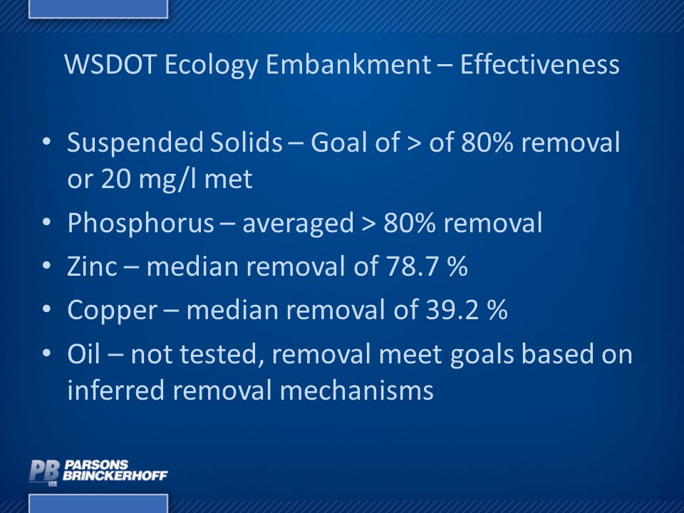 WSDOT Ecology Embankment – Effectiveness Suspended Solids – Goal of > of 80% removal or 20 mg/l met Phosphorus – averaged > 80% removal Zinc – median
