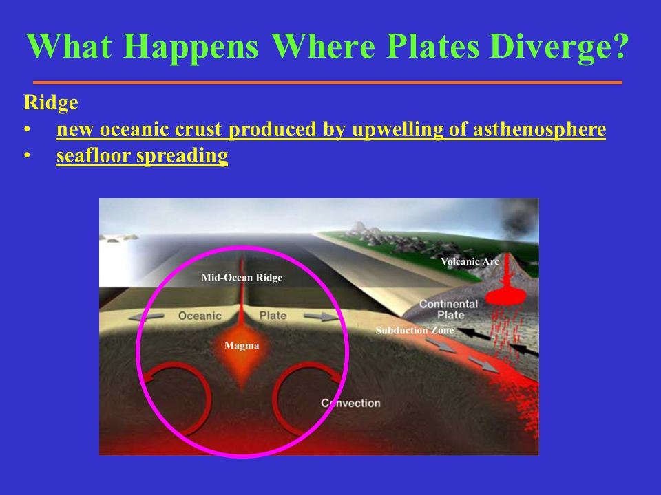 Ridge new oceanic crust produced by upwelling of asthenosphere seafloor spreading What Happens Where Plates Diverge?