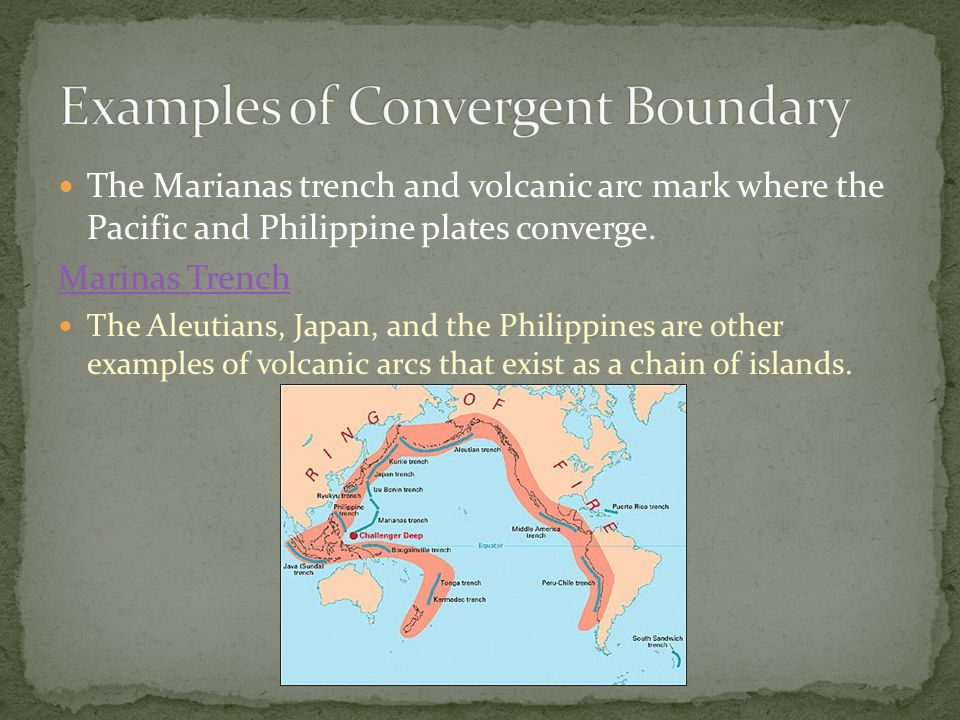 The Marianas trench and volcanic arc mark where the Pacific and Philippine plates converge. Marinas Trench The Aleutians, Japan, and the Philippines a