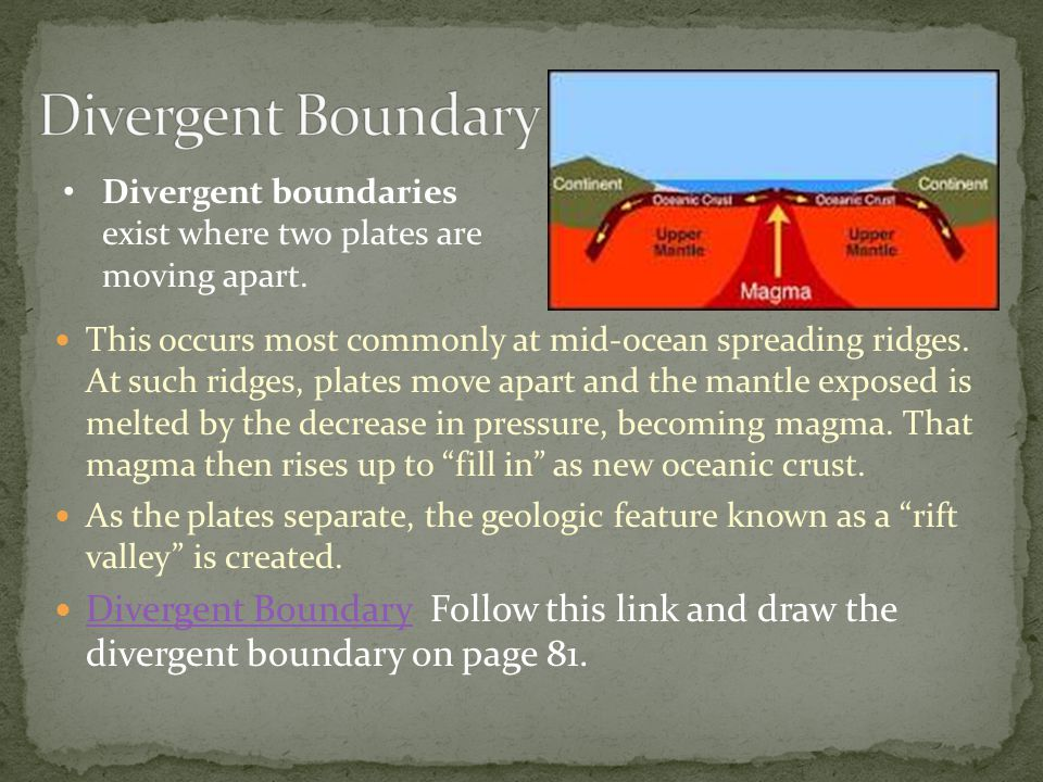 This occurs most commonly at mid-ocean spreading ridges. At such ridges, plates move apart and the mantle exposed is melted by the decrease in pressur