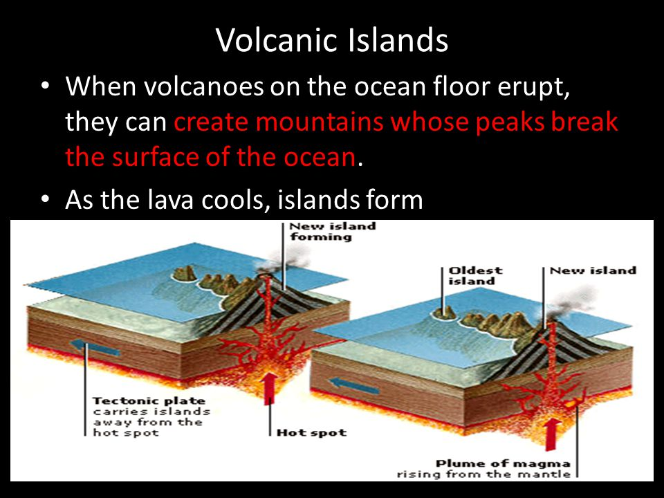 Volcanic Islands When volcanoes on the ocean floor erupt, they can create mountains whose peaks break the surface of the ocean.