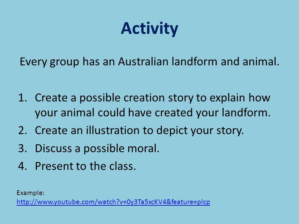 Activity Every group has an Australian landform and animal.