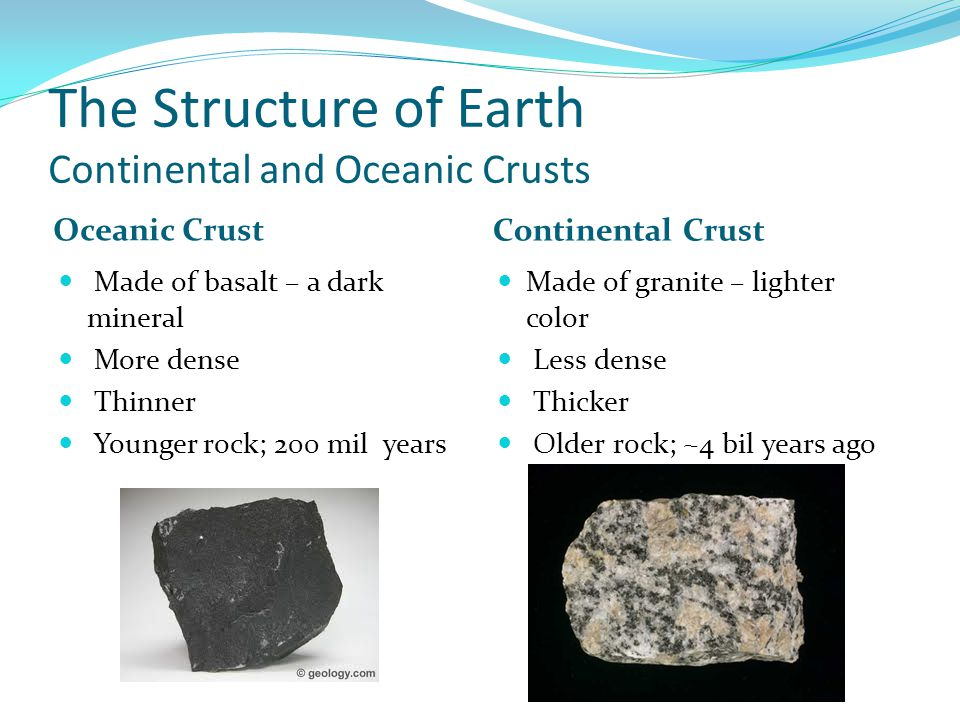The Structure of Earth Continental and Oceanic Crusts Oceanic Crust Continental Crust Made of basalt – a dark mineral More dense Thinner Younger rock; 200 mil years Made of granite – lighter color Less dense Thicker Older rock; ~4 bil years ago
