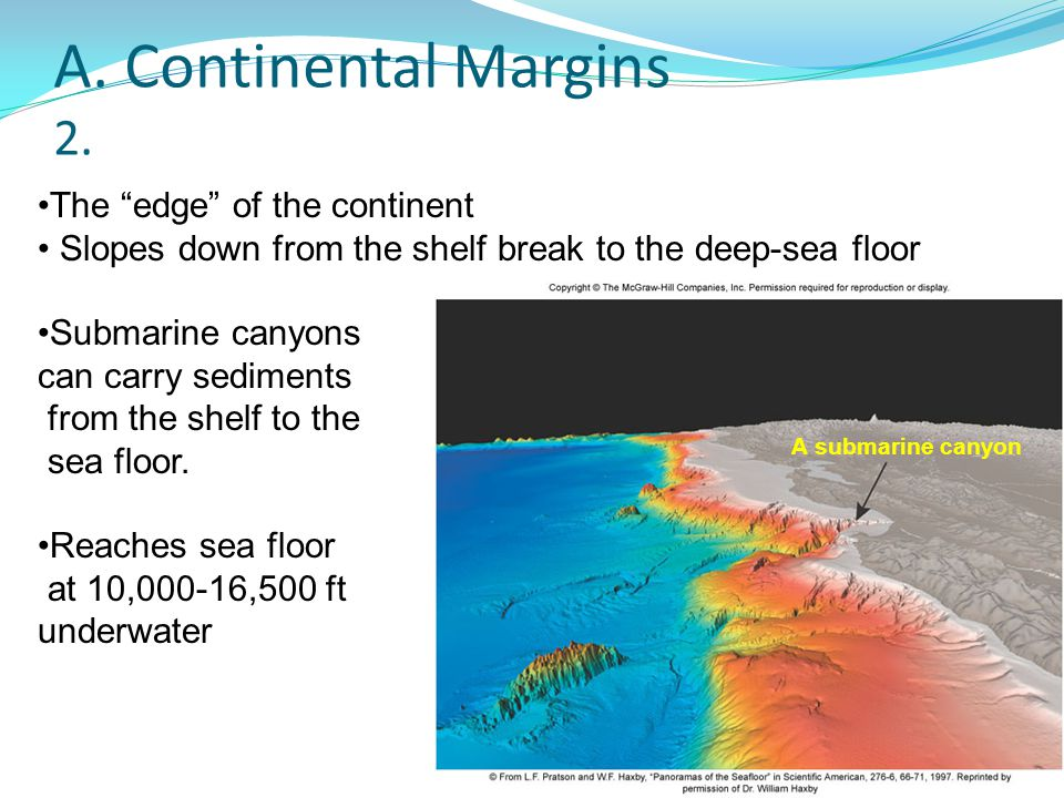"""A. Continental Margins 2. The """"edge"""" of the continent Slopes down from the shelf break to the deep-sea floor Submarine canyons can carry sediments fro"""