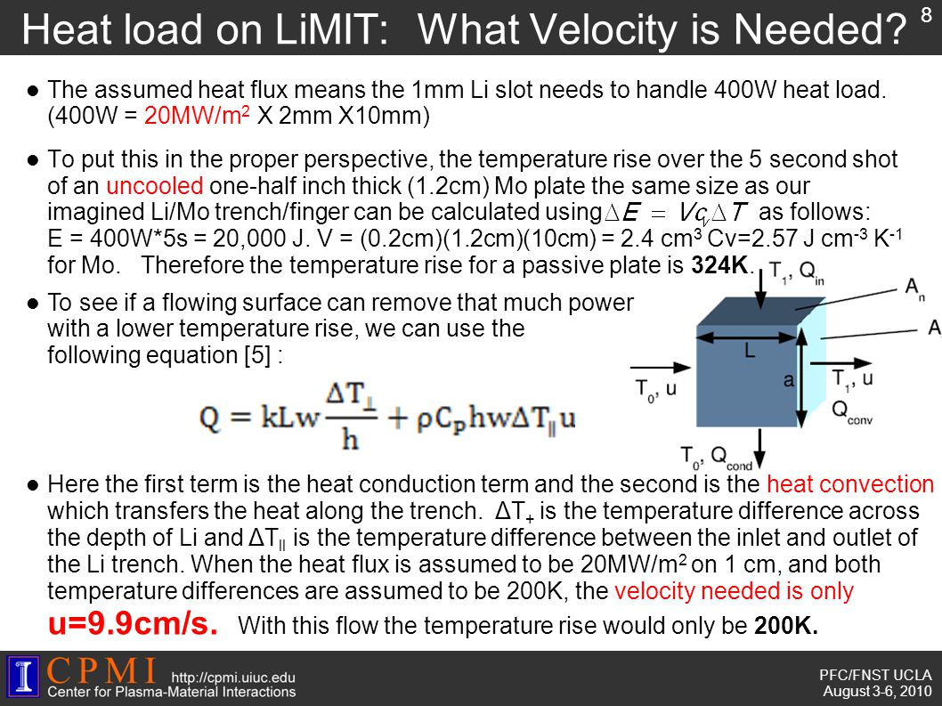PFC/FNST UCLA August 3-6, 2010 Heat load on LiMIT: What Velocity is Needed.