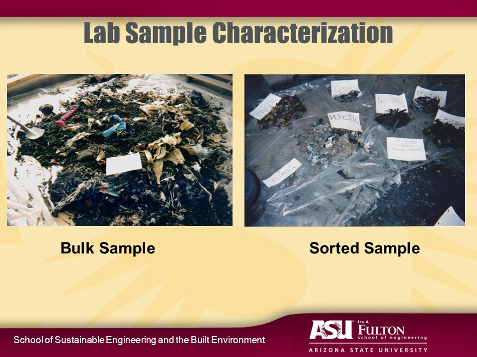 School of Sustainable Engineering and the Built Environment Lab Sample Characterization Bulk Sample Sorted Sample