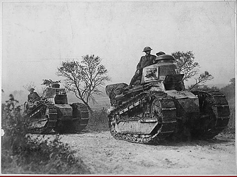The First Tanks Used to breech holes in trench line defenses Used to breech holes in trench line defenses