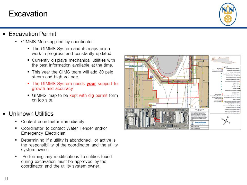 Excavation  Excavation Permit  GIMMS Map supplied by coordinator.
