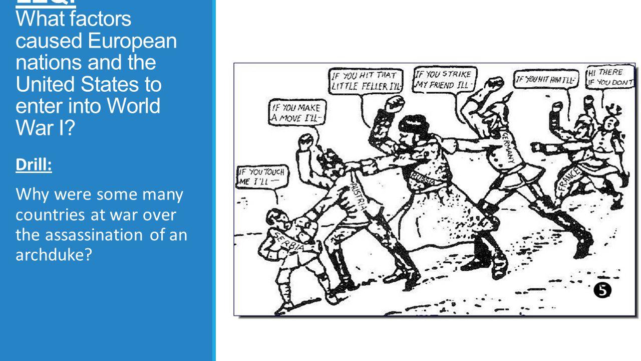 World War I Nationalism Alliances Imperialism Militarism Direct Cause of World War I = Assassination of Archduke Franz Ferdinand Direct Cause of World War I = Assassination of Archduke Franz Ferdinand