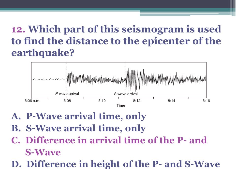 12. Which part of this seismogram is used to find the distance to the epicenter of the earthquake? A. P-Wave arrival time, only B. S-Wave arrival time