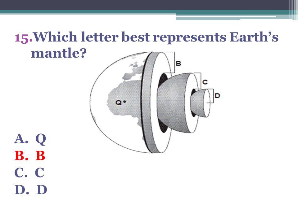 15.Which letter best represents Earth's mantle? A. Q B. B C. C D. D