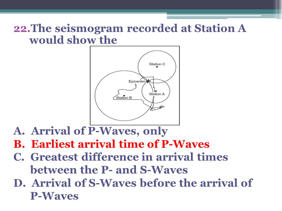 22.The seismogram recorded at Station A would show the A. Arrival of P-Waves, only B. Earliest arrival time of P-Waves C. Greatest difference in arriv