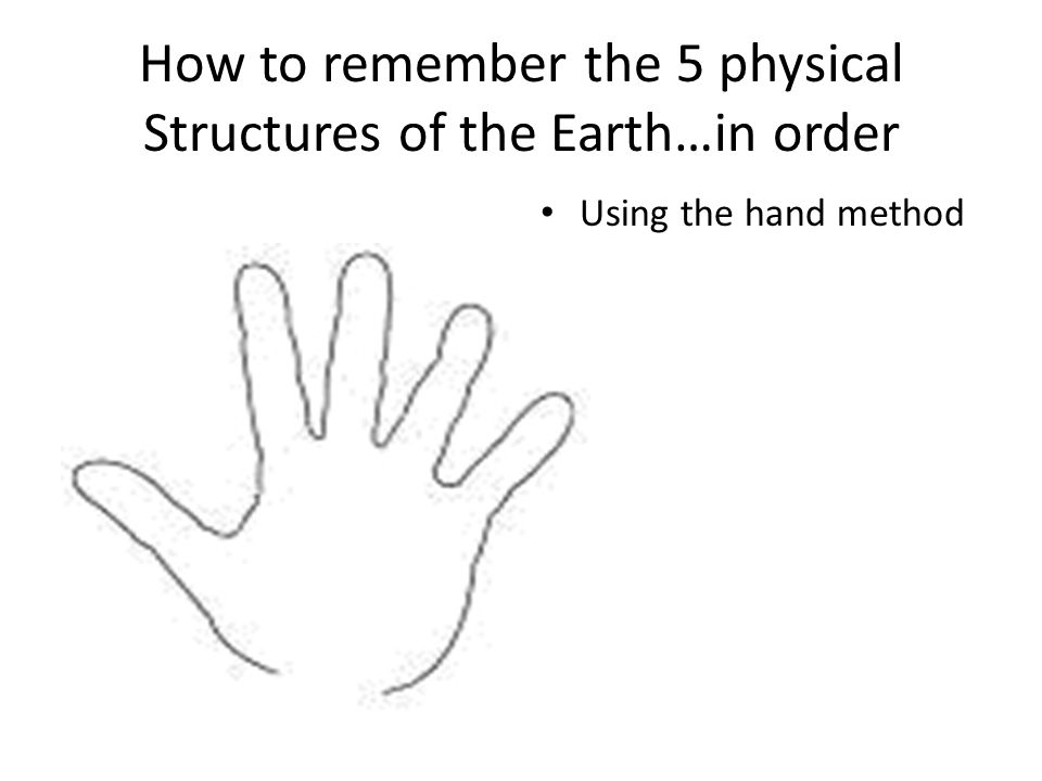 How to remember the 5 physical Structures of the Earth…in order Using the hand method
