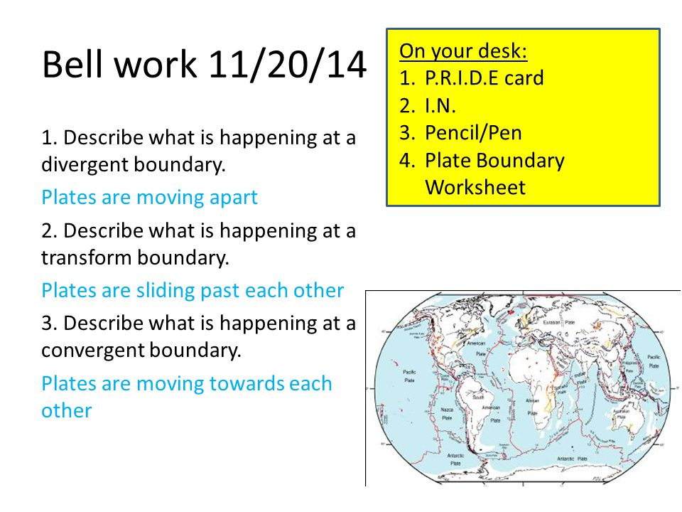 Bell work 11/20/14 1. Describe what is happening at a divergent boundary.