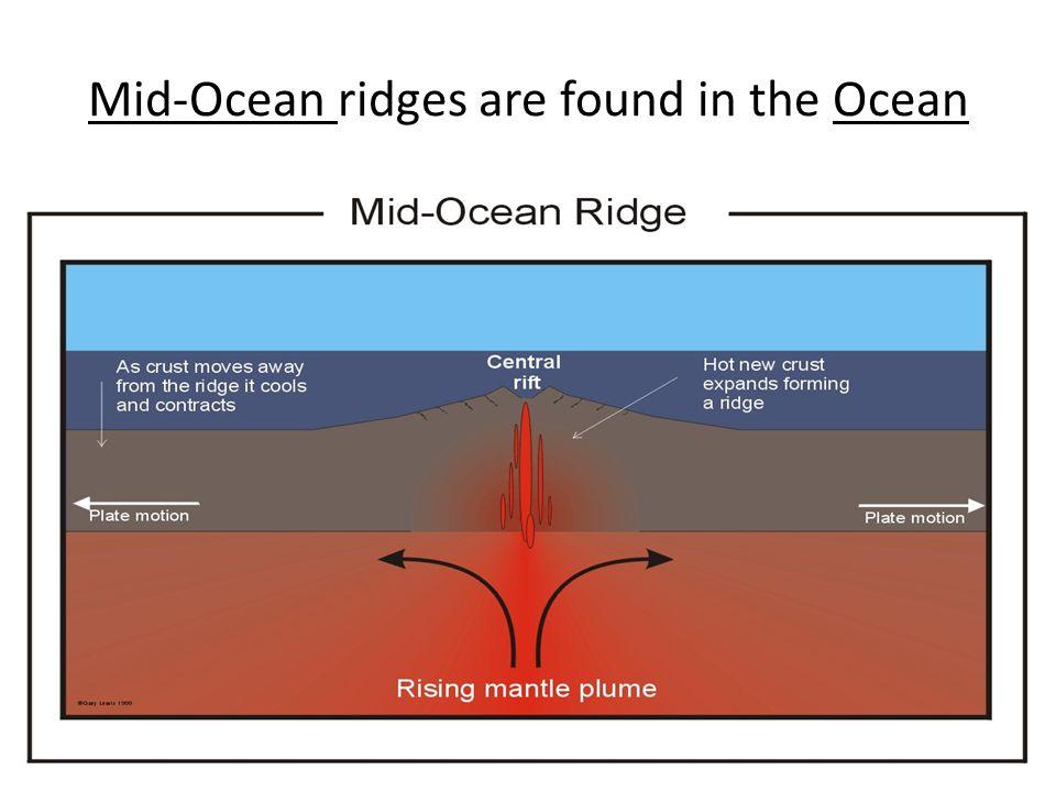 Mid-Ocean ridges are found in the Ocean