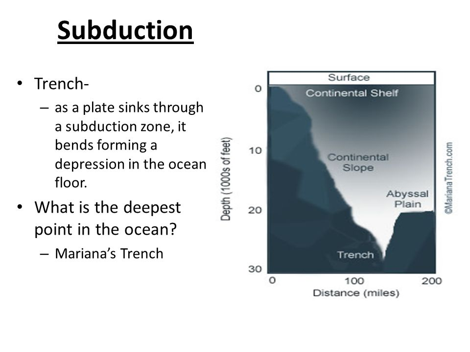 Subduction Trench- – as a plate sinks through a subduction zone, it bends forming a depression in the ocean floor.