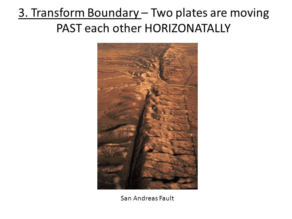 3. Transform Boundary – Two plates are moving PAST each other HORIZONATALLY San Andreas Fault