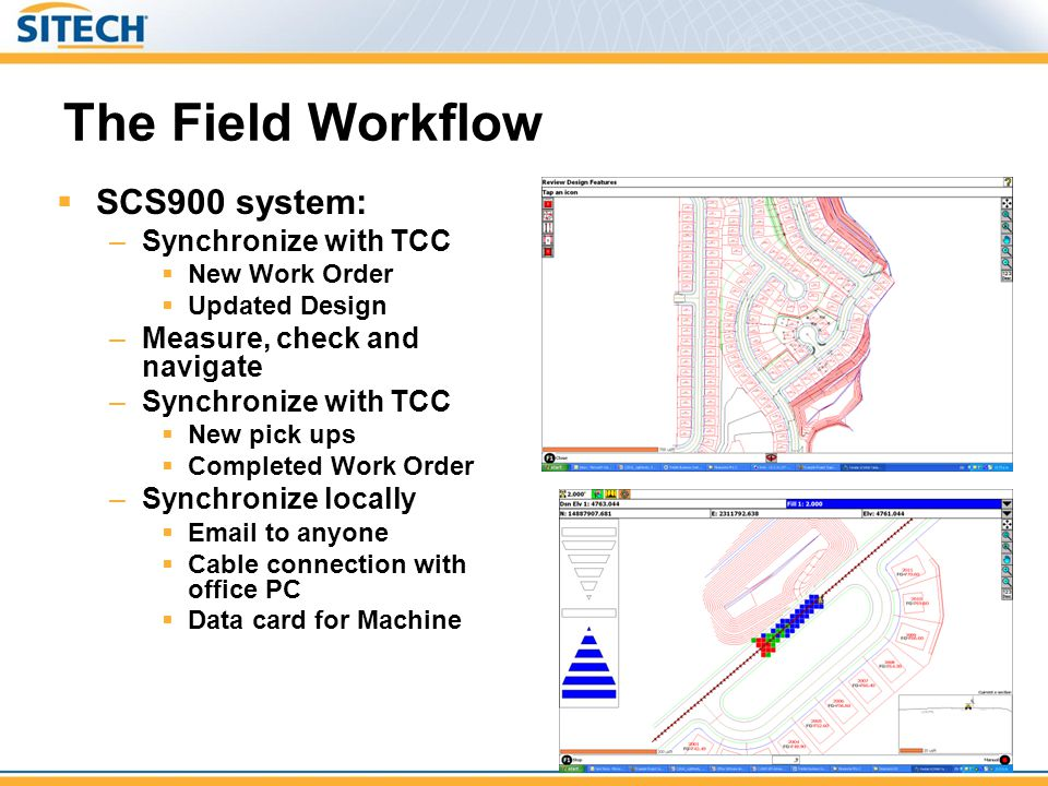 The Field Workflow  SCS900 system: –Synchronize with TCC  New Work Order  Updated Design –Measure, check and navigate –Synchronize with TCC  New p