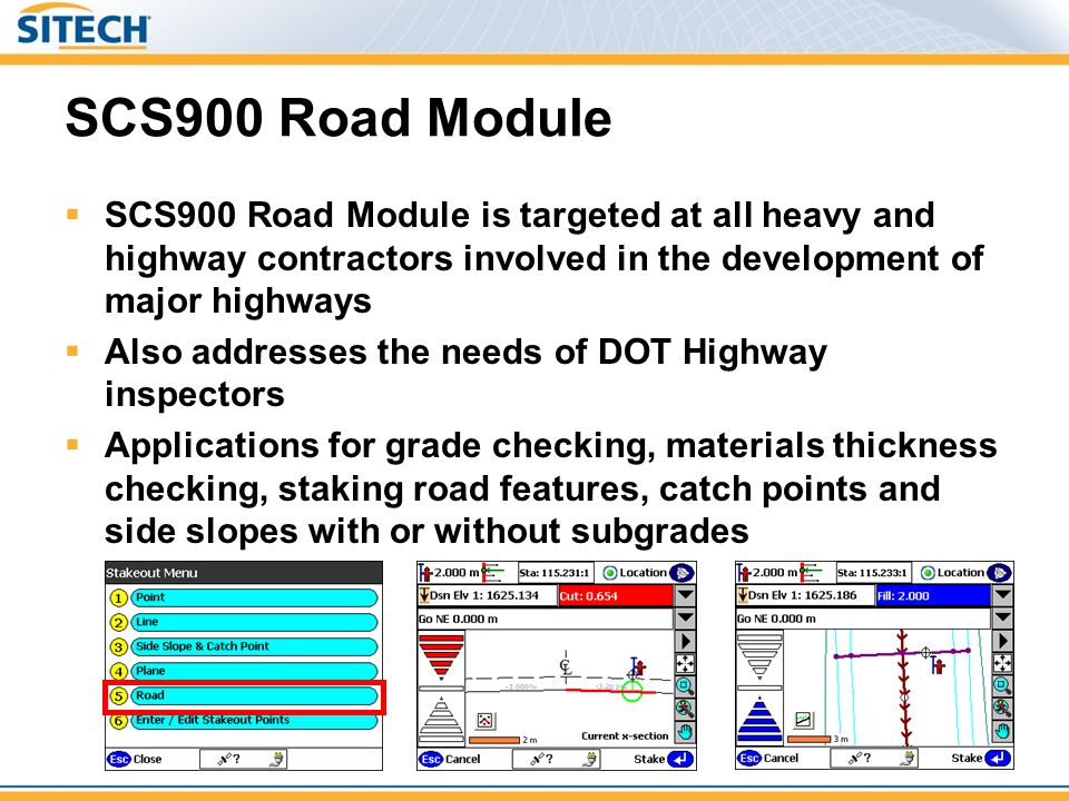 SCS900 Road Module  SCS900 Road Module is targeted at all heavy and highway contractors involved in the development of major highways  Also addresse