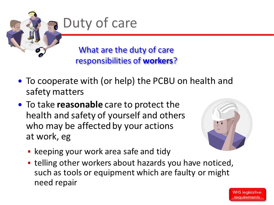 To cooperate with (or help) the PCBU on health and safety matters To take reasonable care to protect the health and safety of yourself and others who