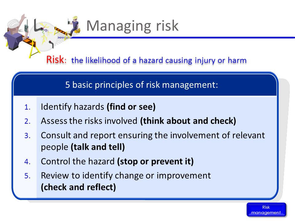 Managing risk Risk management 1. Identify hazards (find or see) 2. Assess the risks involved (think about and check) 3. Consult and report ensuring th