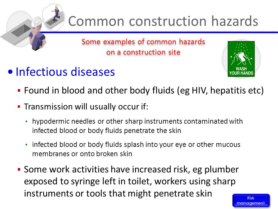 Infectious diseases  Found in blood and other body fluids (eg HIV, hepatitis etc)  Transmission will usually occur if: hypodermic needles or other s