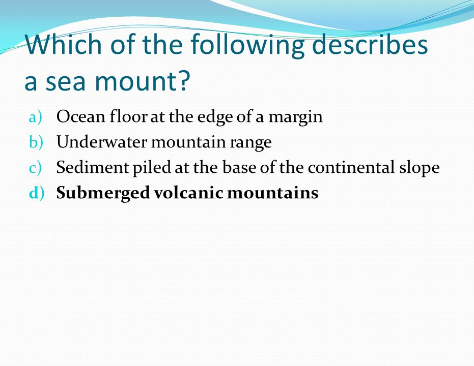 Which of the following describes a sea mount? a) Ocean floor at the edge of a margin b) Underwater mountain range c) Sediment piled at the base of the