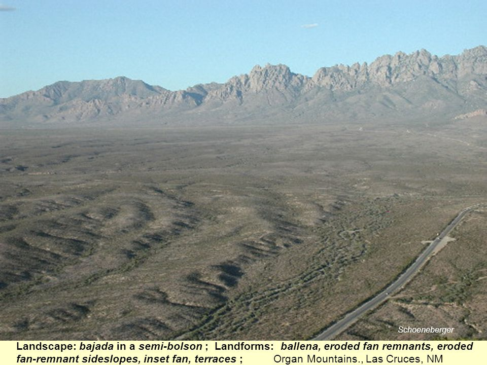 Landscape: bajada in a semi-bolson ; Landforms: ballena, eroded fan remnants, eroded fan-remnant sideslopes, inset fan, terraces ; Organ Mountains., L