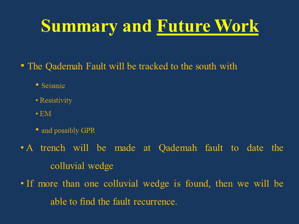 Summary and Future Work The Qademah Fault will be tracked to the south with Seismic Resistivity EM and possibly GPR A trench will be made at Qademah f