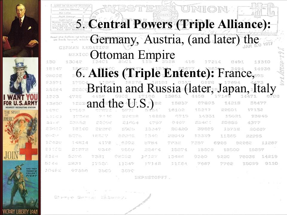 Theme 4 After America's critical contribution to the Allied victory, a triumphant Wilson attempted to construct a peace based on his idealistic Fourteen Points.