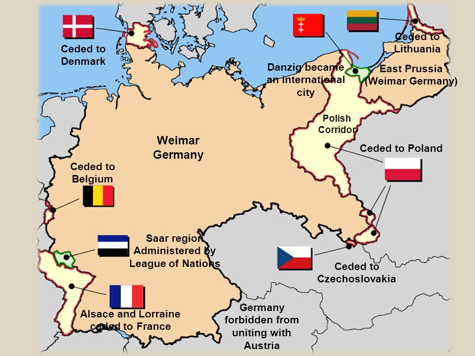 Weimar Germany Ceded to Poland Ceded to Czechoslovakia Alsace and Lorraine ceded to France Saar region Administered by League of Nations Danzig became an international city East Prussia (Weimar Germany) Ceded to Belgium Ceded to Lithuania Ceded to Denmark Polish Corridor Germany forbidden from uniting with Austria
