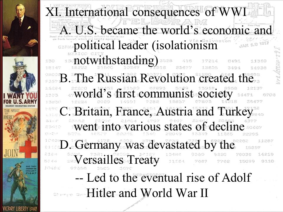XI. International consequences of WWI A. U.S.
