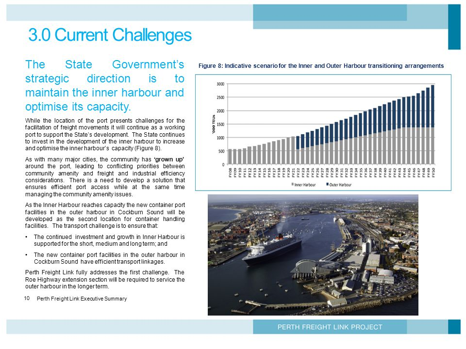 Perth Freight Link Executive Summary 10 3.0 Current Challenges The State Government's strategic direction is to maintain the inner harbour and optimis