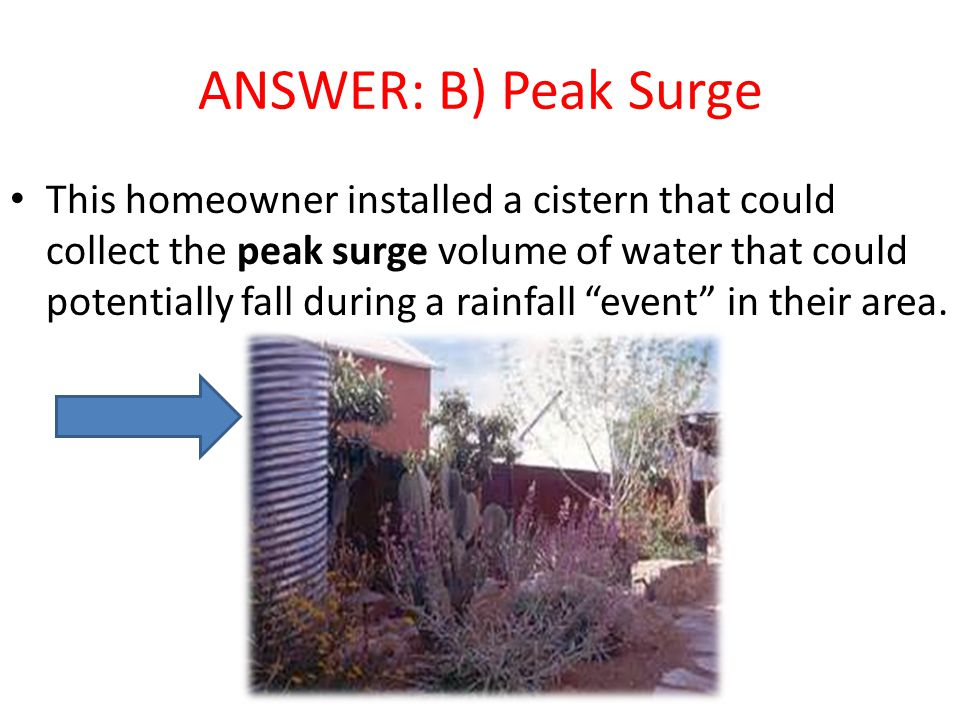 ANSWER: B) Peak Surge This homeowner installed a cistern that could collect the peak surge volume of water that could potentially fall during a rainfall event in their area.