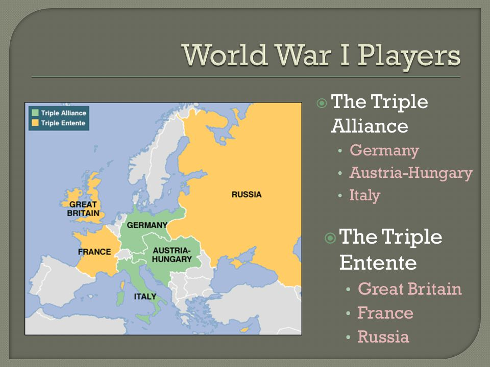 The Triple Alliance Germany Austria-Hungary Italy  The Triple Entente Great Britain France Russia
