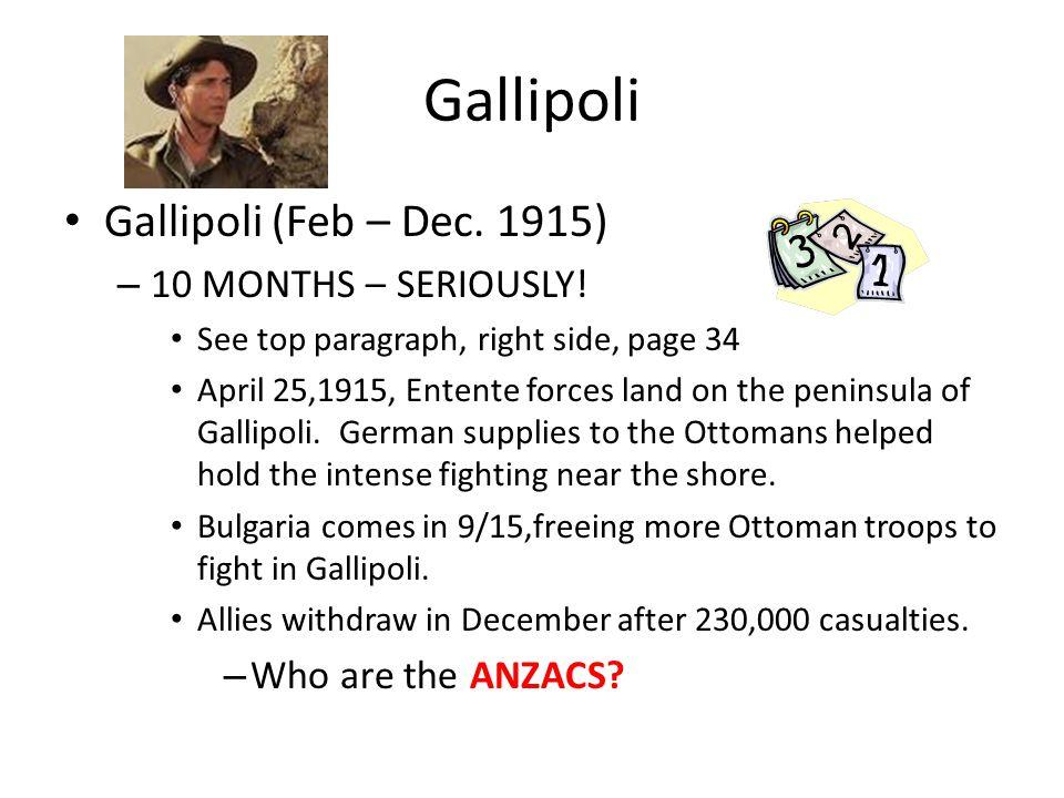 Gallipoli Gallipoli (Feb – Dec. 1915) – 10 MONTHS – SERIOUSLY.