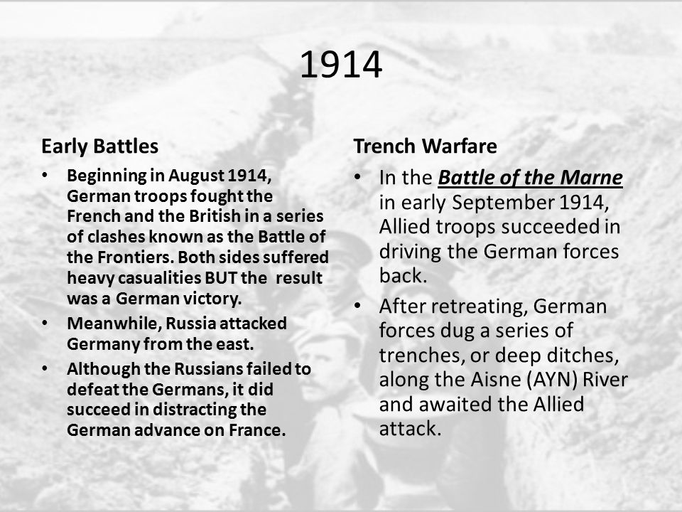 Monkey see, monkey do.Allied forces built trenches of their own.