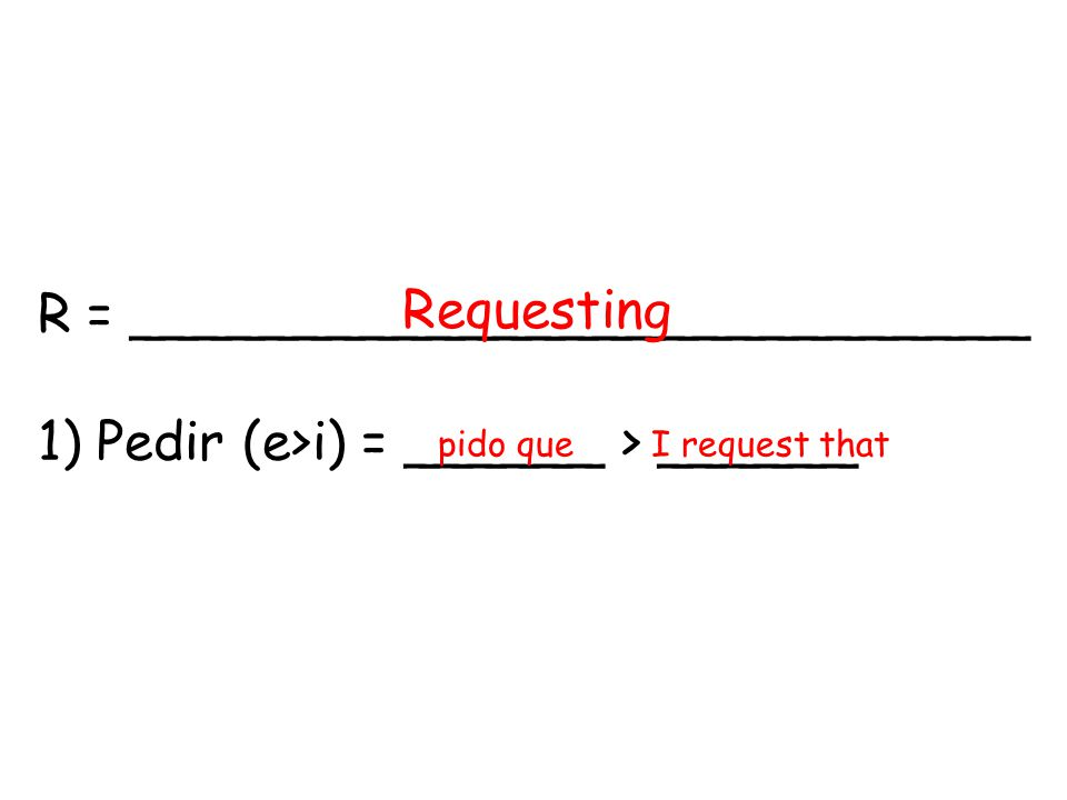 R = ___________________________ 1) Pedir (e>i) = ______ > ______ Requesting pido queI request that