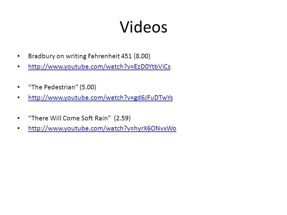 "Videos Bradbury on writing Fahrenheit 451 (8.00) http://www.youtube.com/watch?v=EzD0YtbViCs ""The Pedestrian"" (5.00) http://www.youtube.com/watch?v=gd6"