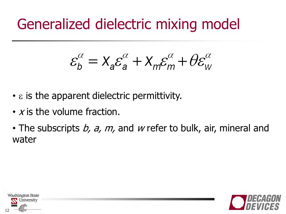 Generalized dielectric mixing model 12  is the apparent dielectric permittivity.