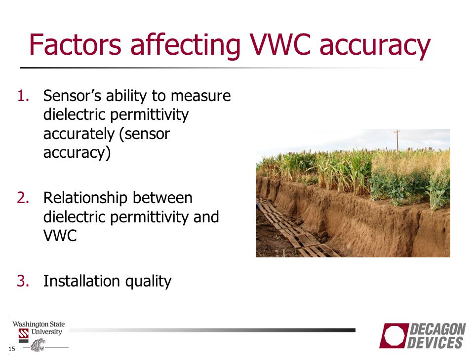 Factors affecting VWC accuracy 1.Sensor's ability to measure dielectric permittivity accurately (sensor accuracy) 2.Relationship between dielectric permittivity and VWC 3.Installation quality 15
