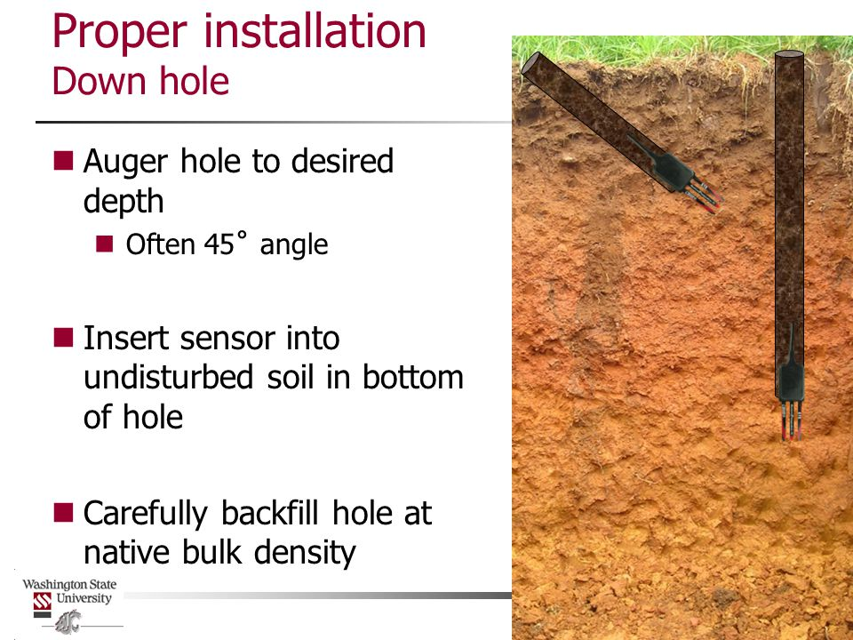 Proper installation Down hole Auger hole to desired depth Often 45˚ angle Insert sensor into undisturbed soil in bottom of hole Carefully backfill hole at native bulk density