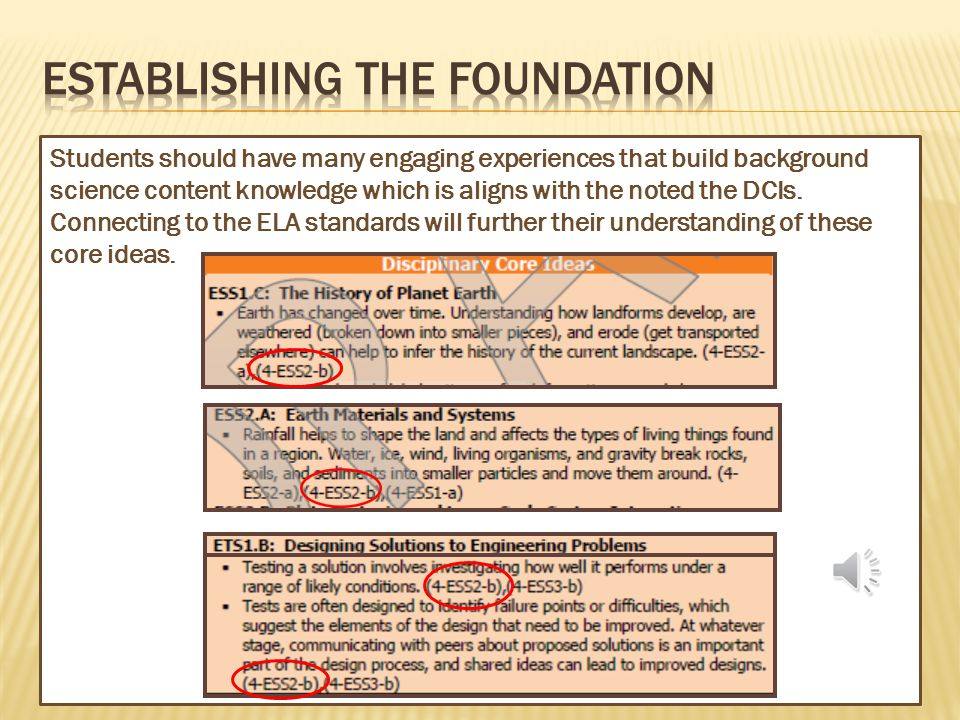 Now look at the connections to the ELA standards… NGSS Performance Expectation from the January DRAFT Release
