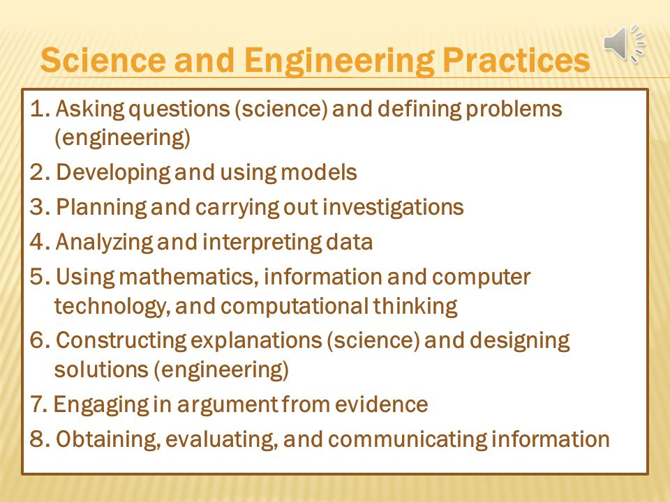 The Framework establishes three dimensions of science learning: 1.