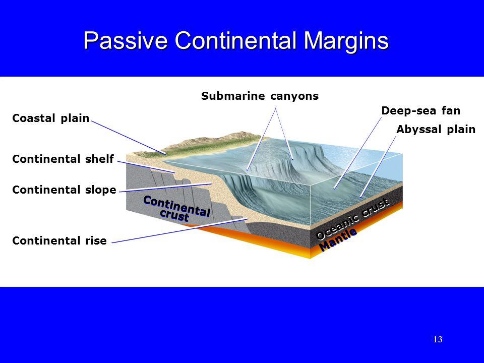 Submarine canyons Coastal plain Continental shelf Continental slope Continental rise Continental crust Continental crust Oceanic crust Mantle Deep-sea fan Abyssal plain Passive Continental Margins 13